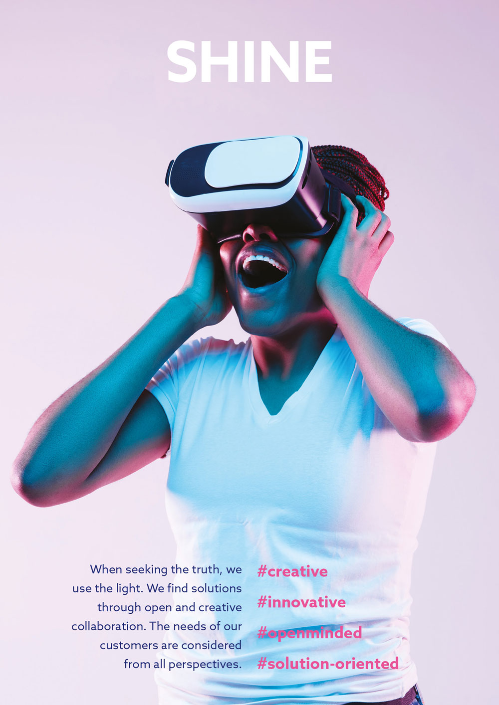 Woman with VR glasses.