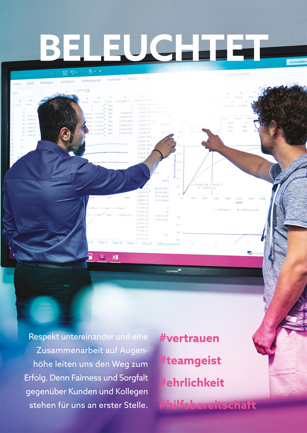 Two experts standing in front of the electronic whiteboard